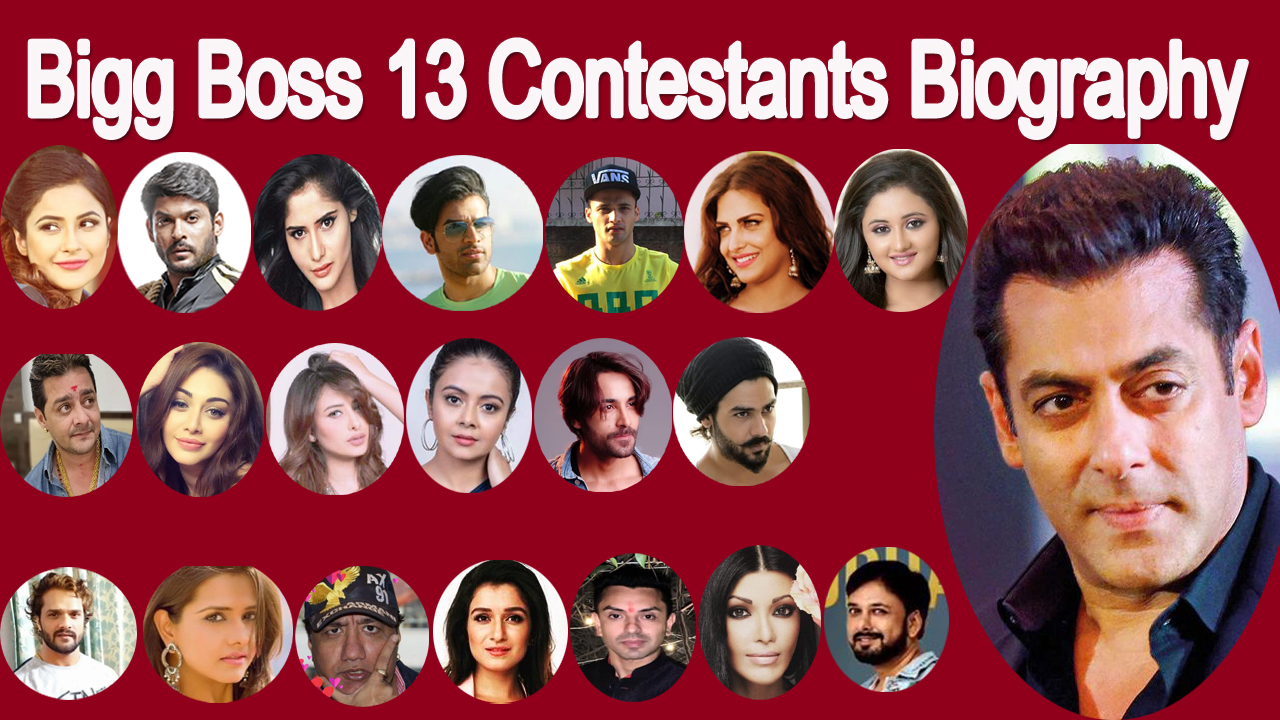 Bigg boss 13 Contestants Biography,Name and age,Biodata,family,lifestyle,salman khan,Sidharth Shukla,Shehnaz Gill,Paras Chhabra,Asim Riaz,Himanshi Khurana